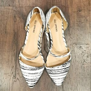 Black and White Pointed Toe Ballet Flats